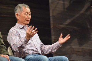 "George Takei answers audience questions during a talkback session after a performance of ""Allegiance."""
