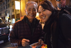 "George Takei and other cast members signed autographs after a performance of ""Allegiance"" at the Longacre Theatre on Broadway."