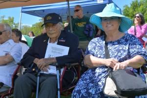 Joe and his daughter Leslie Sakato at the 2015 Memorial Day service for Nisei Veterans in Denver.