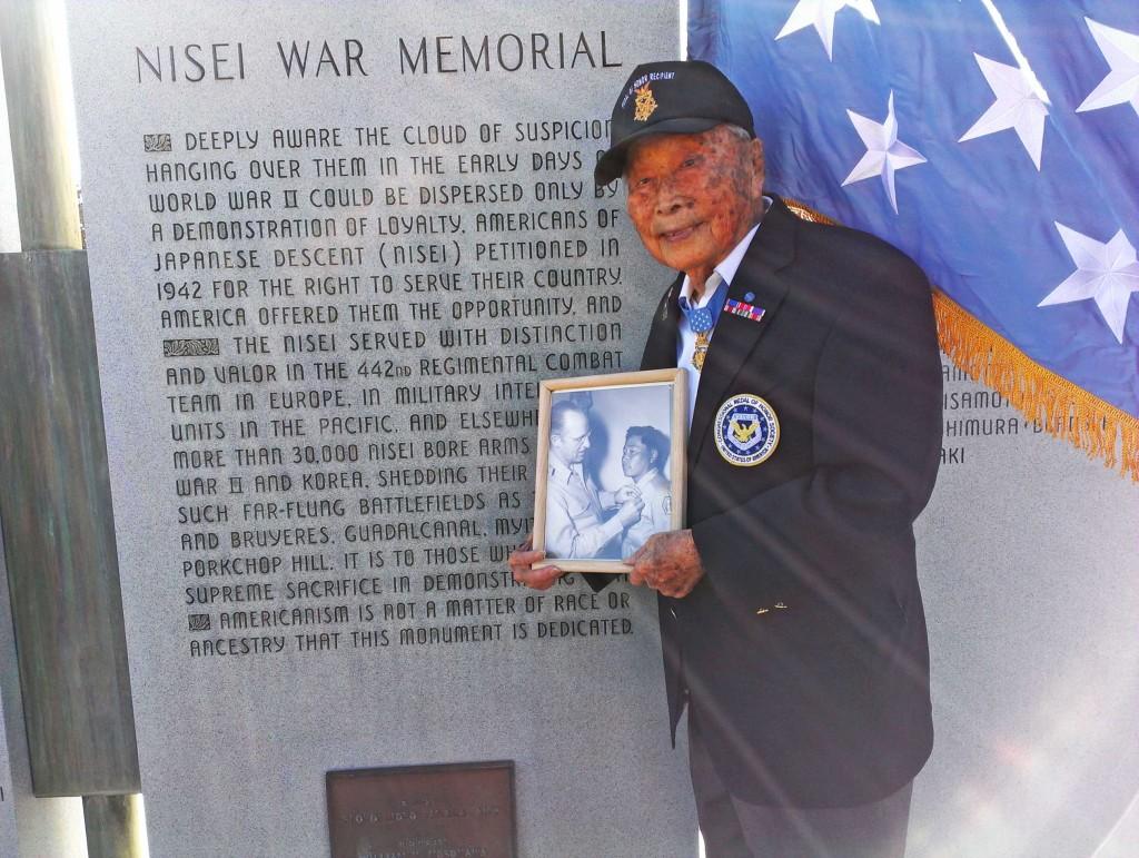 Joe Sakato at the Nisei War Memorial in Denver, taken during a March, 2014  photo shoot.