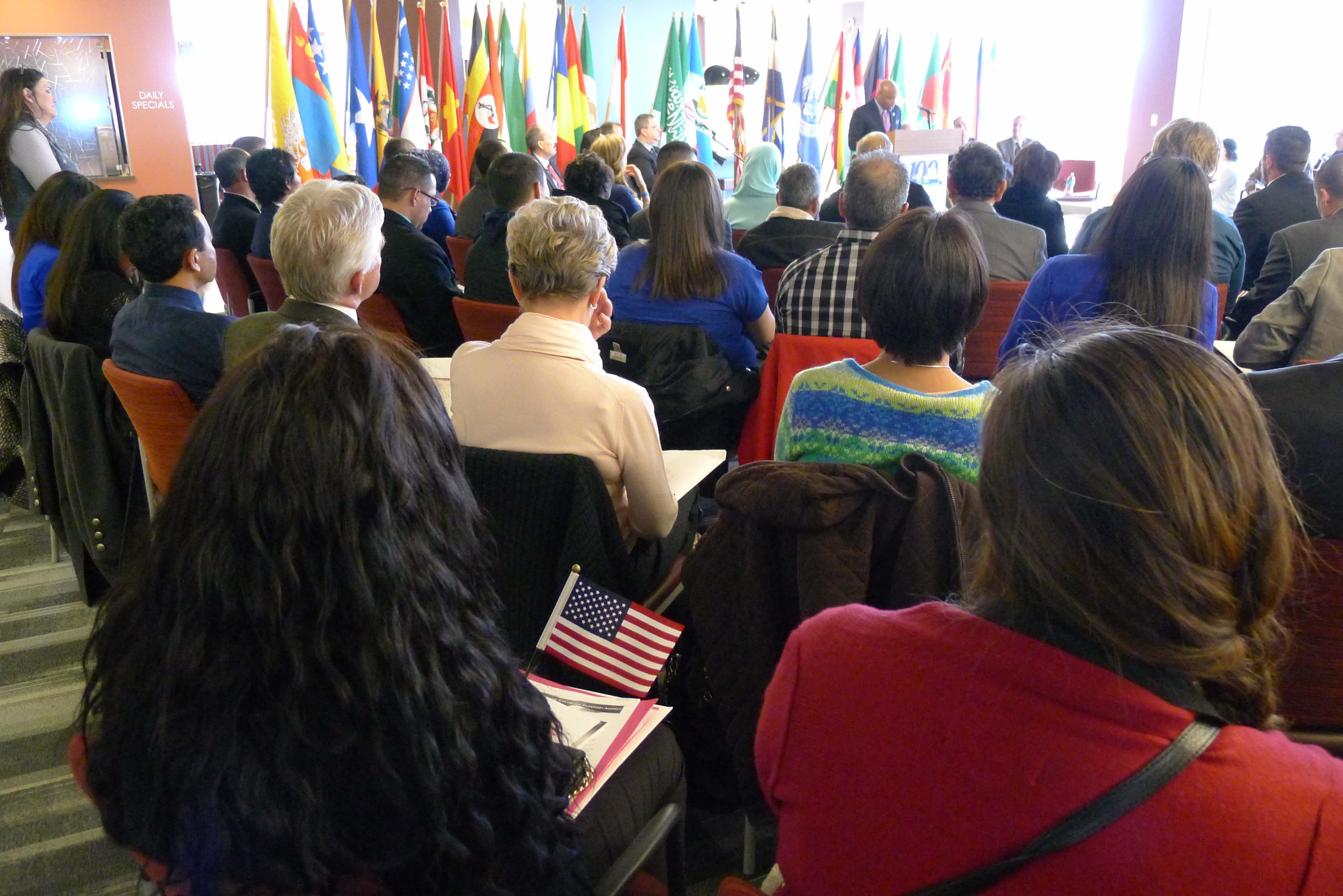 Denver's Mayor Michael B. Hancock welcomes the 100 applicants and their family members to the citizenship ceremony.