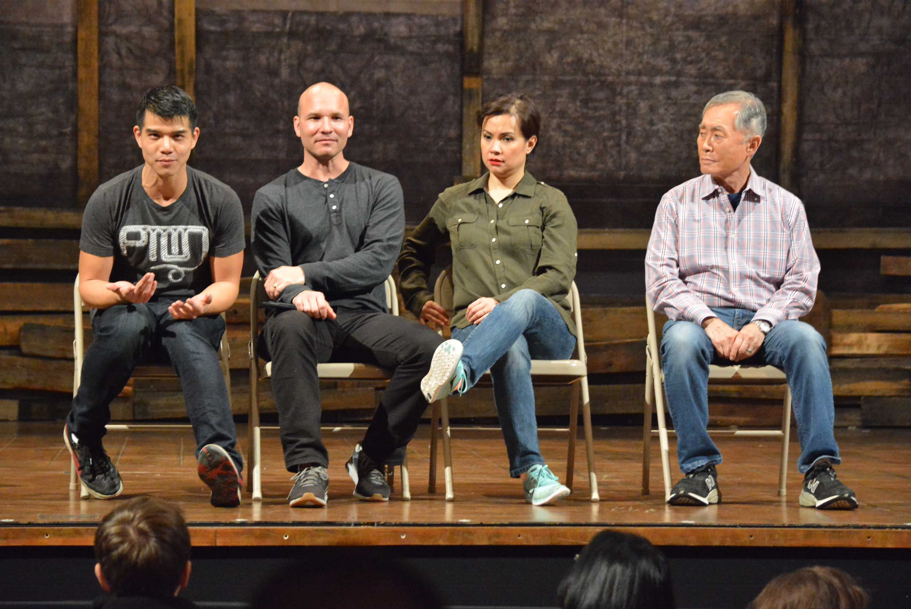 "The actors who participated in the talkback after a performance of ""Allegiance"": From left, Telly Leung, Owen Johnston II, Lea Salonga and George Takei."
