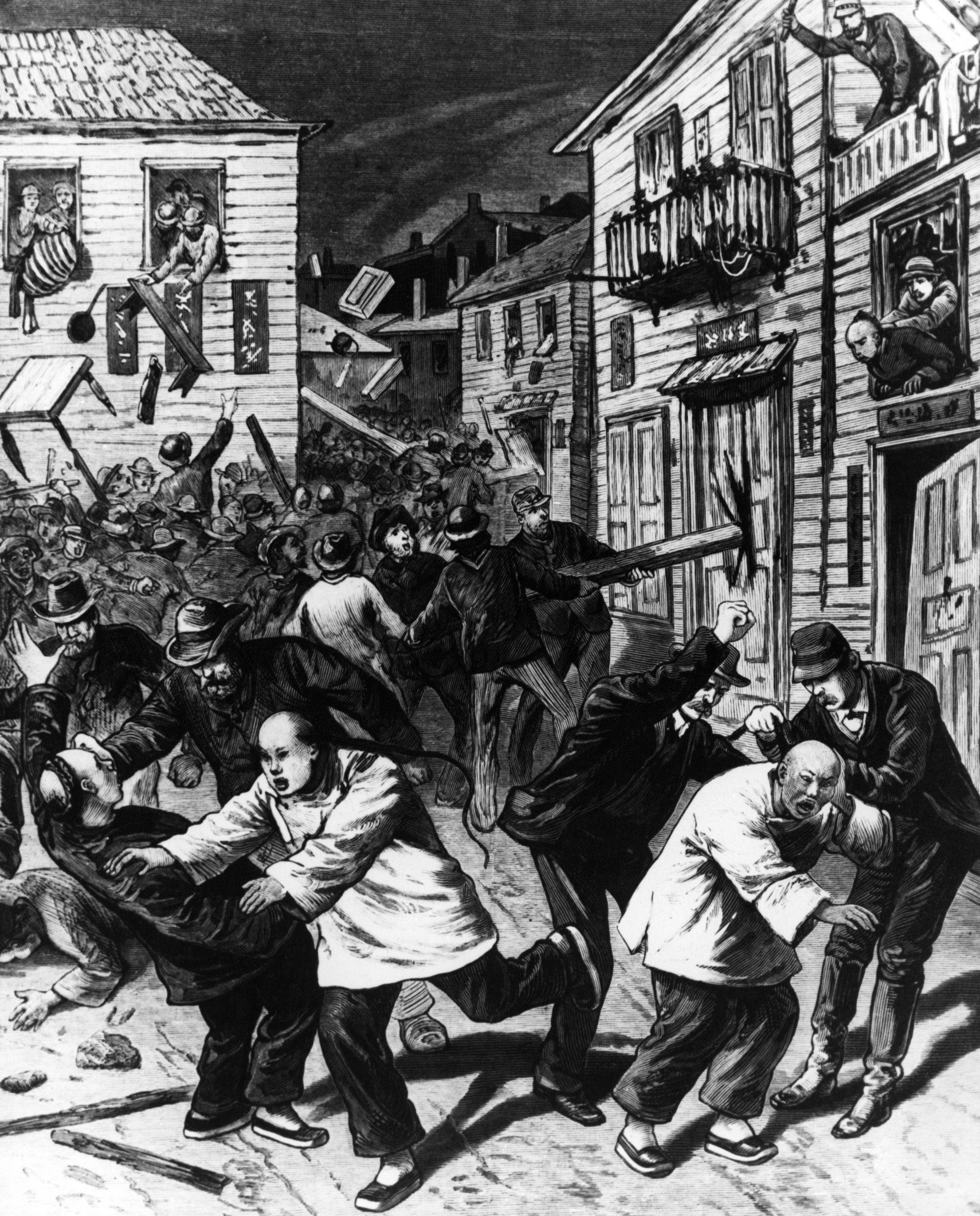 Denver's anti-Chinese race riot of Oct. 31, 1880, by N.B. Wilkens in Frank Leslie's Illustrated Newspaper, November 20, 1880